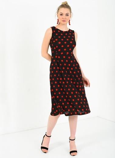 Cepli Kırmızı Puantiyeli Kloş Elbise-Ola